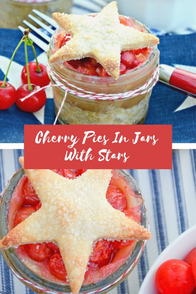 cherry pie in a mason jar