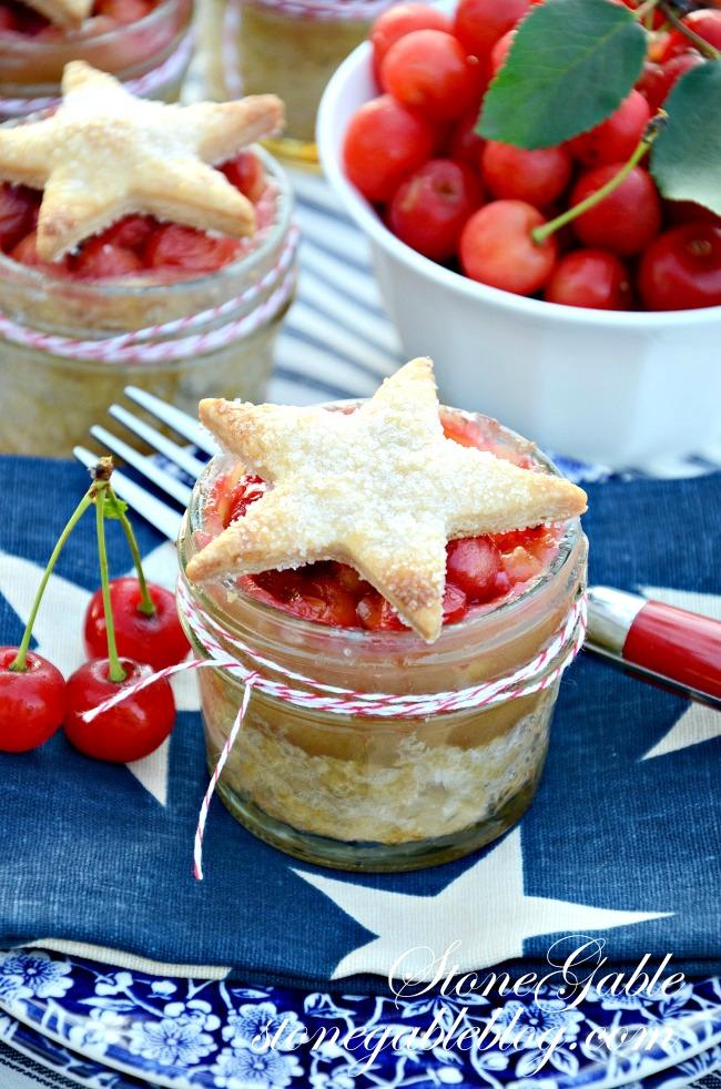 cherry pie in a jar is a scrumptious summer dessert