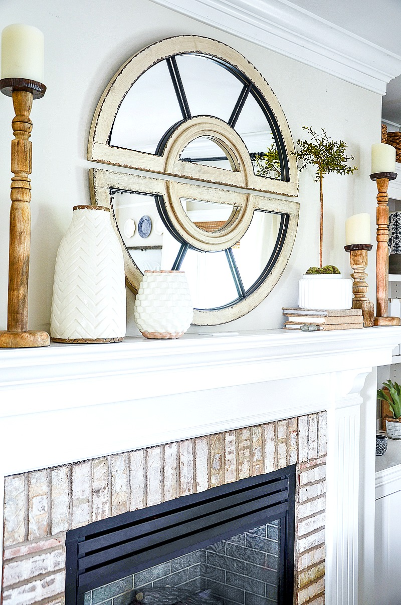 side view of a decorated mantel