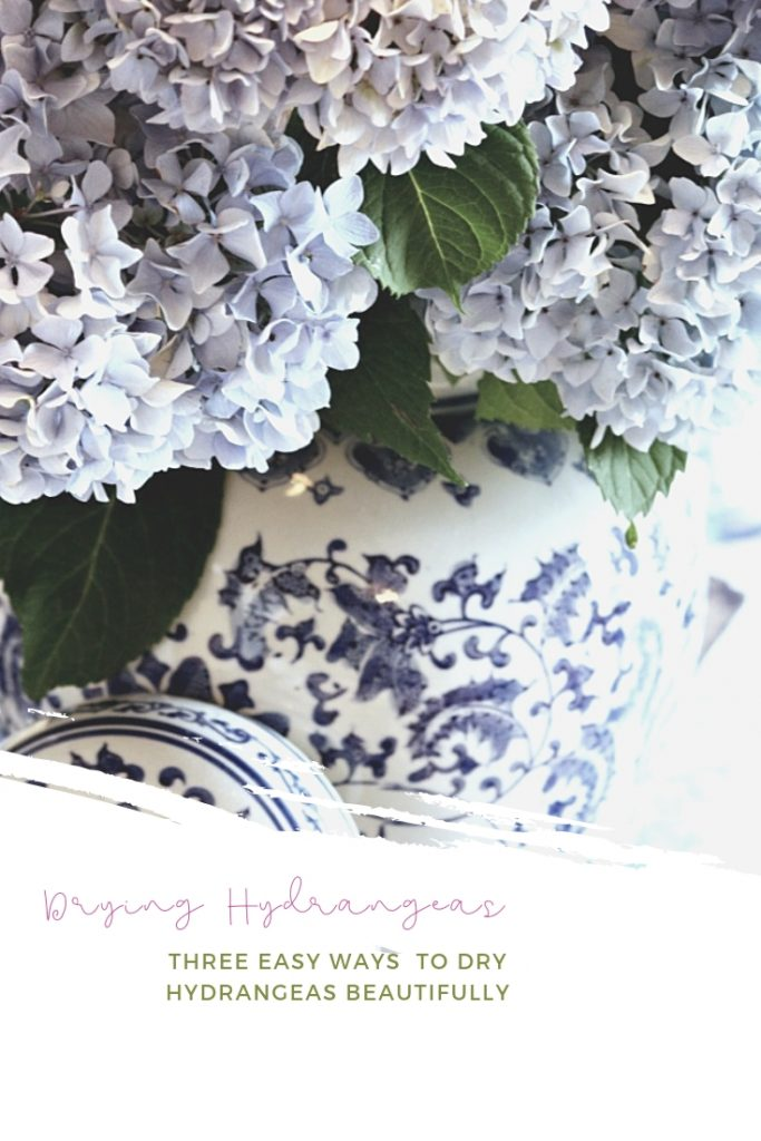 dried blue hydrangeas in a blue and white ginger jar