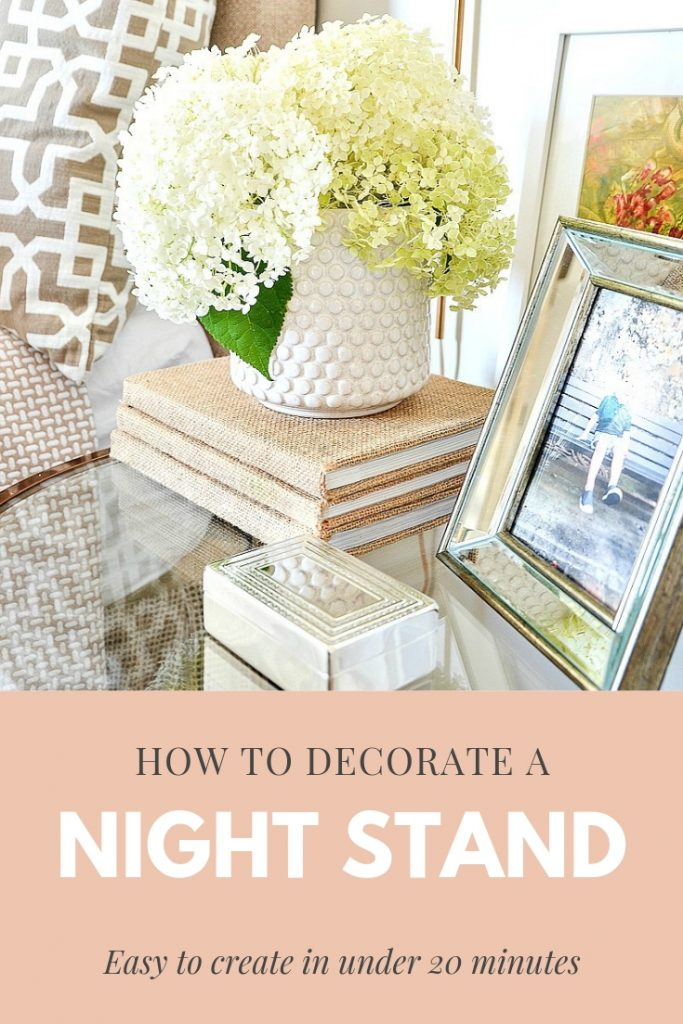 pretty items on a round nightstand