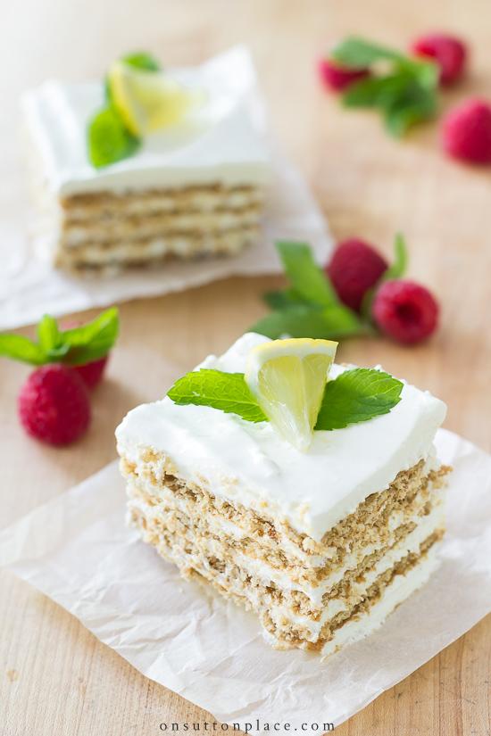 icebox cake with raspberries and lemons summer dessert recipe