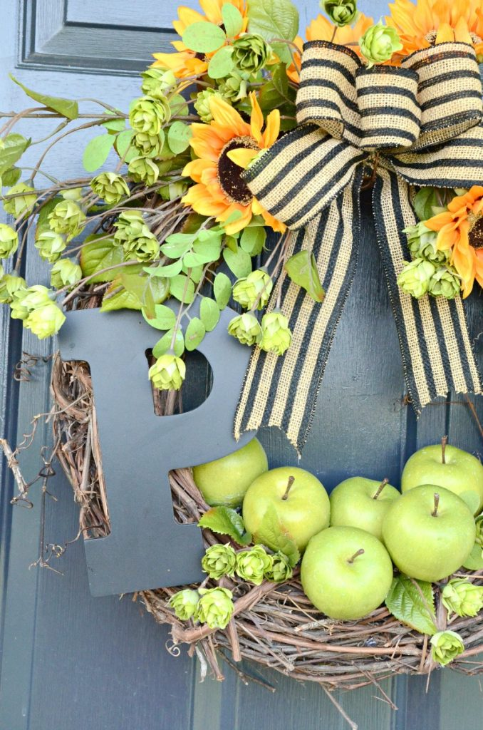 wreath with apples and sunflowers