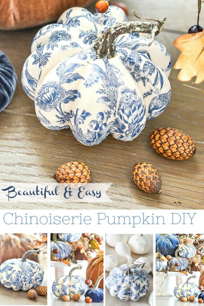 blue and white chinoiserie pumpkin next to tiny closed pinecones