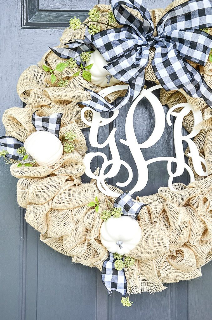 burlap and pumpkin wreath
