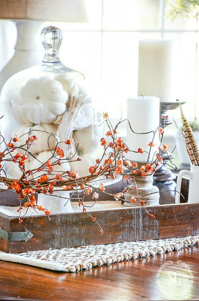 fall decor pumpkins in cloche, candles and pheasant feathers