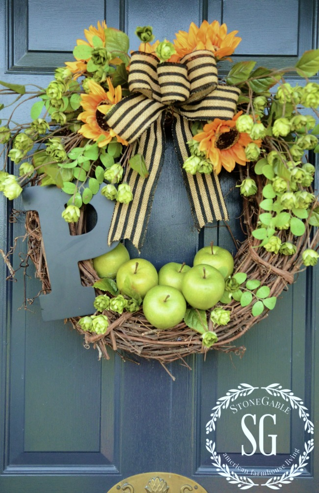 fall wreath with green apples