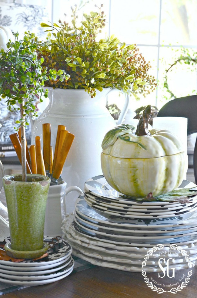 fall kitchen vignette with white pumpkin soup tureens