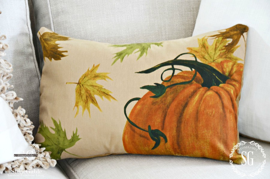 pumpkin motif on a pillow