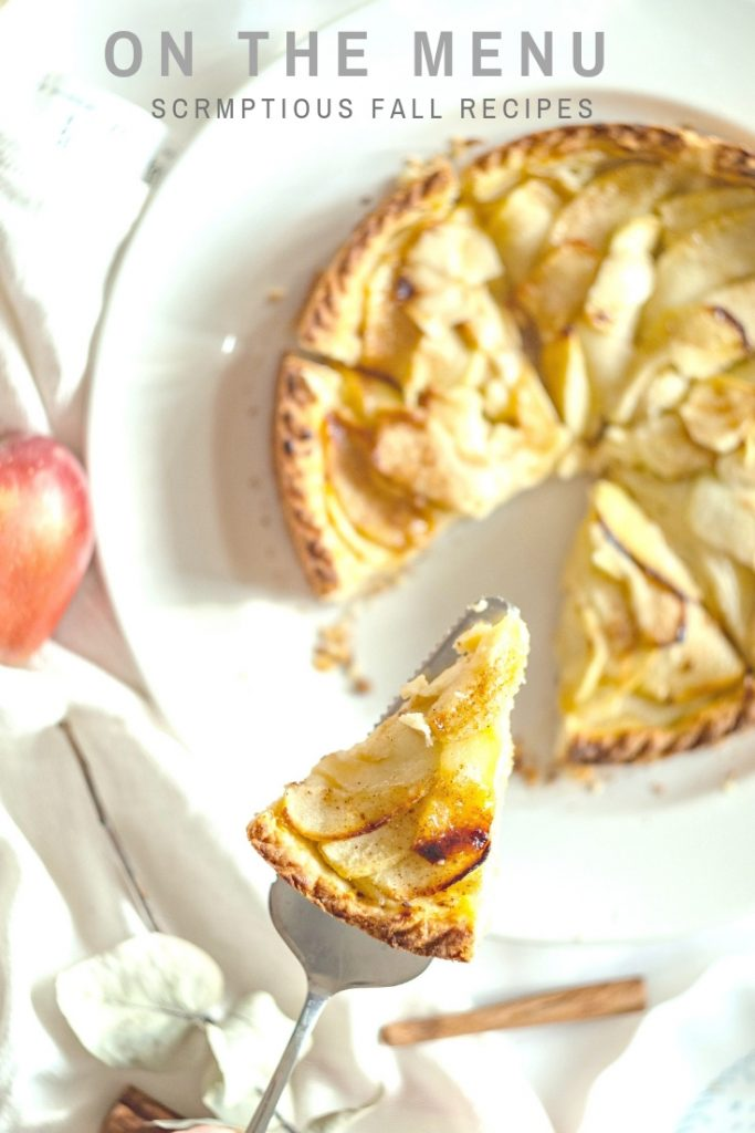 apple pie served on a pie slicer