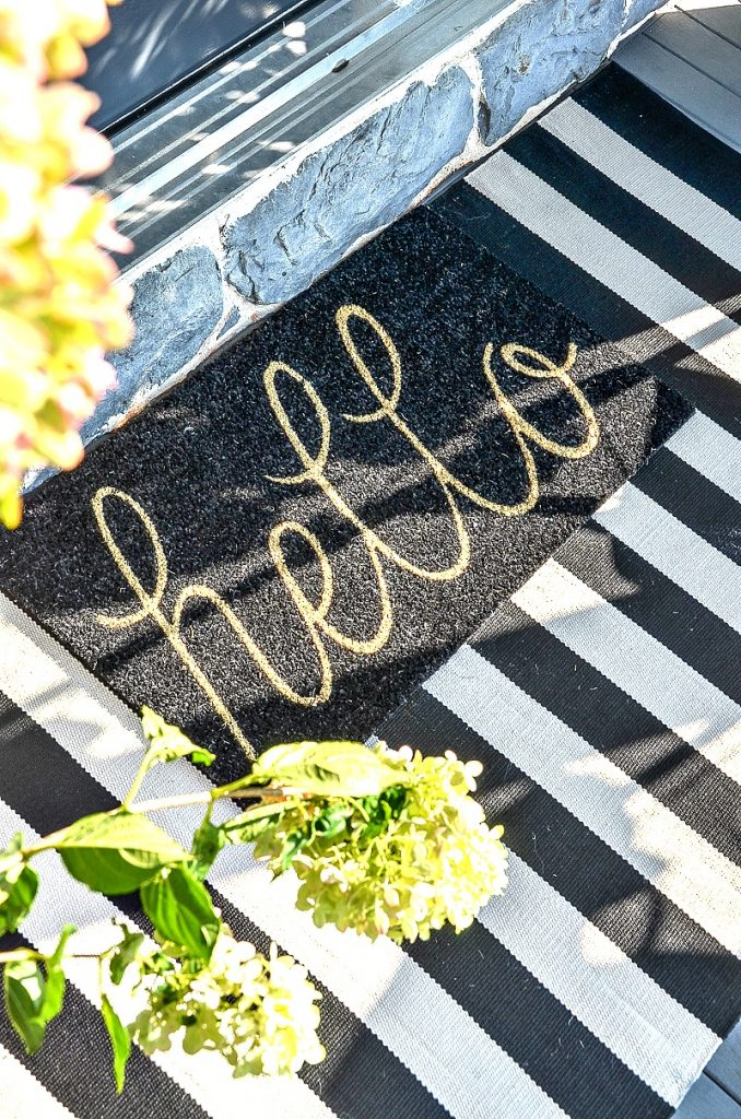 close- up of Hello doormat