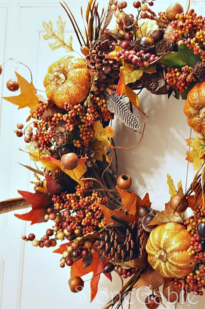 autumn wreath with blingy pumpkins and berries