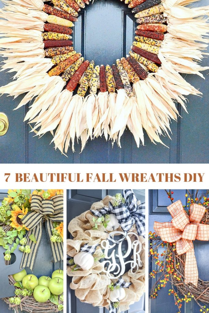 four beautiful wreaths with baby corn, pumpkins, fall leaves, bittersweet, sunflowers, green apples and pretty bows