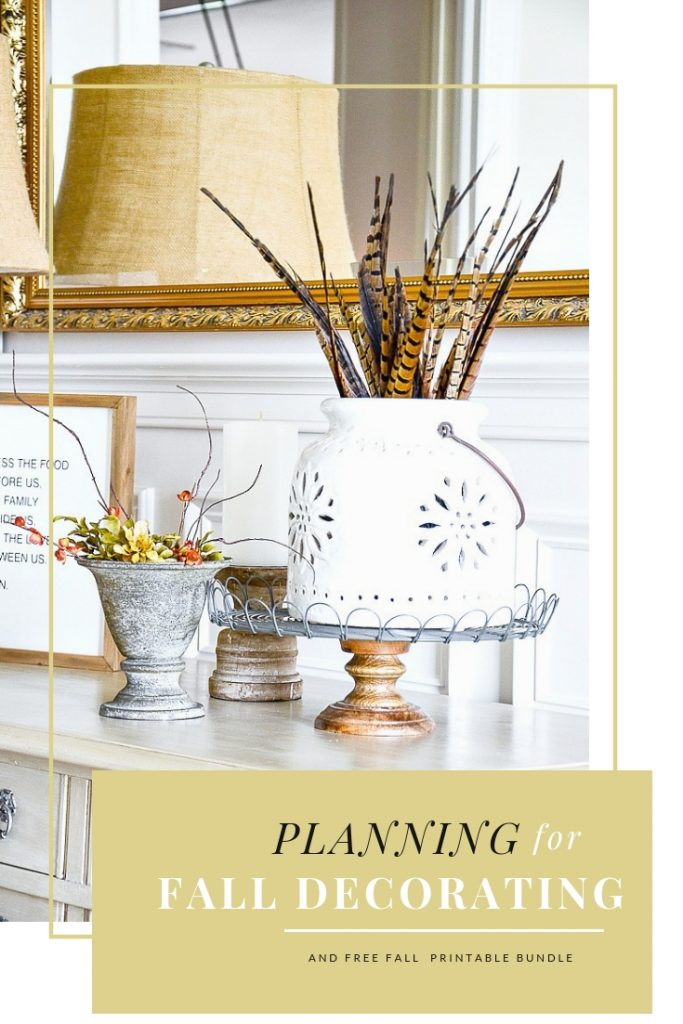 fall decorating on a dining room buffet