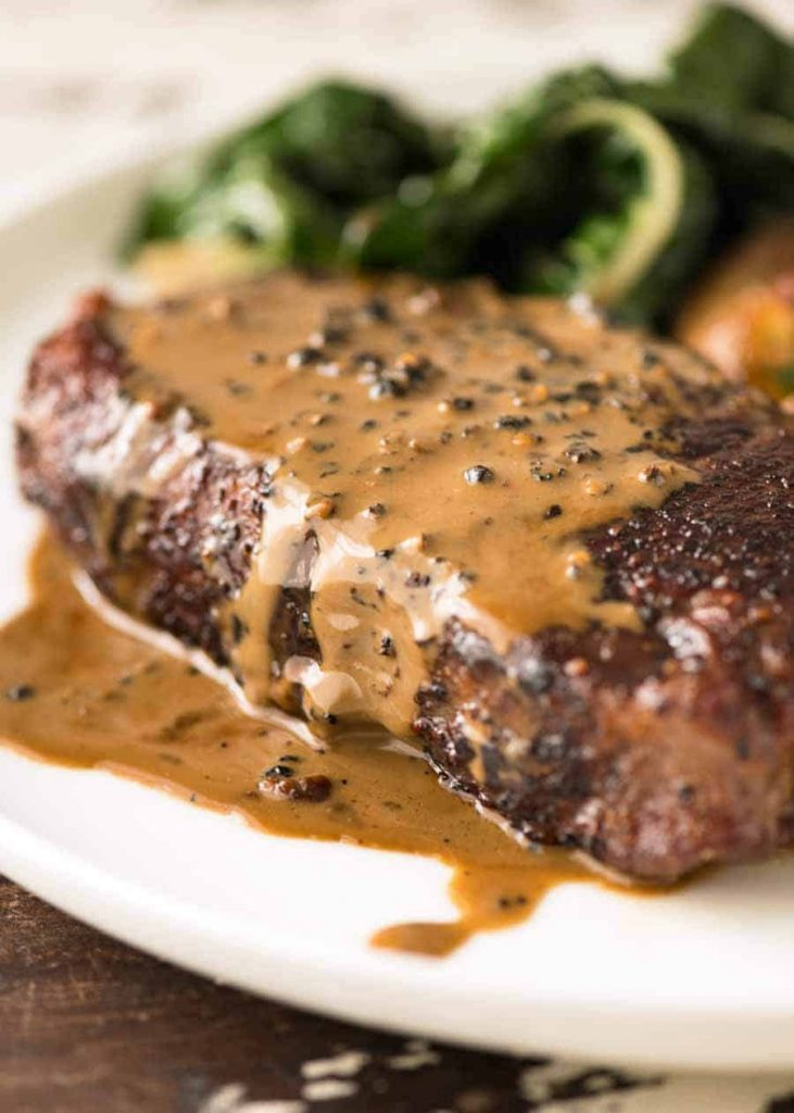 steak with peppercorn sauce on the menu