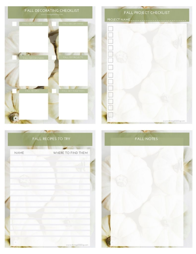 FALL PLANNING PRINTABLE BUNDLES for decorating