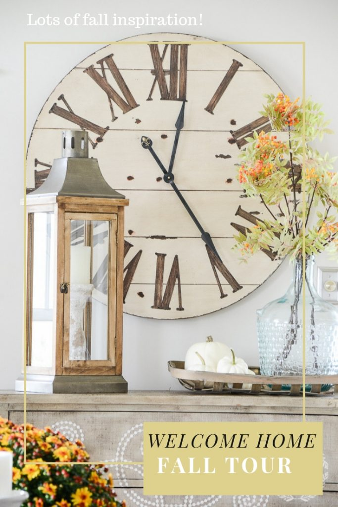 fall chest in the living room with big clock on the wall