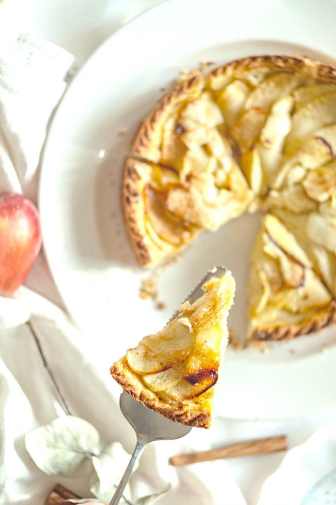 apple tart on a white dish