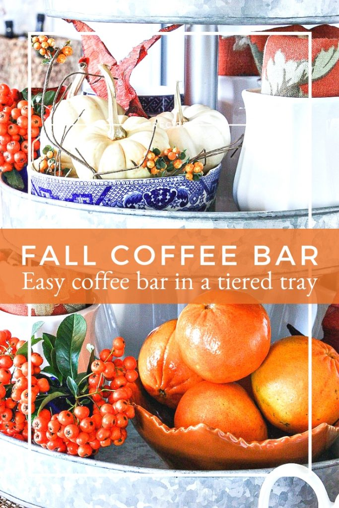 mini pumpkins and oranges on a fall coffee bar