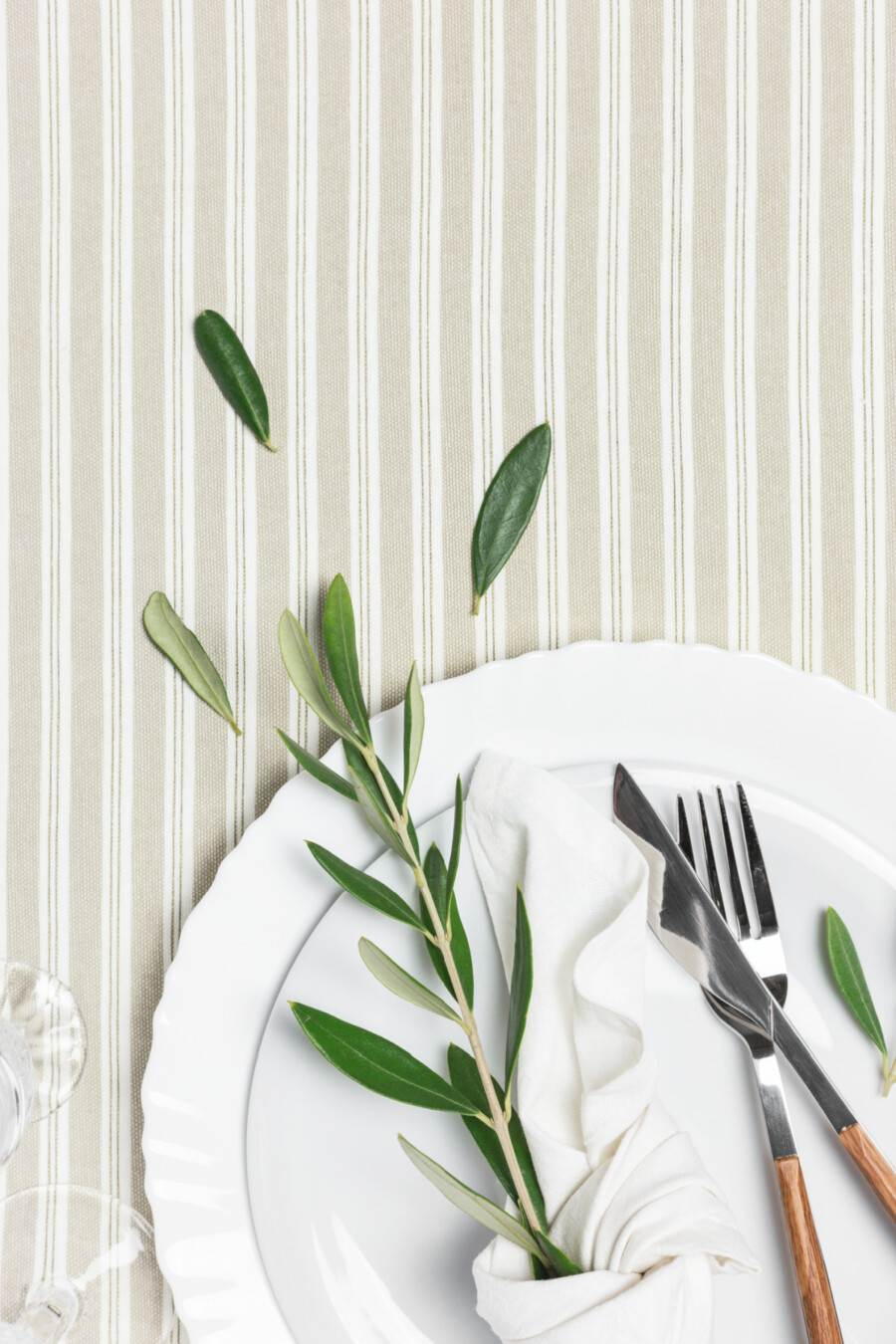white place setting for recipes on the menu