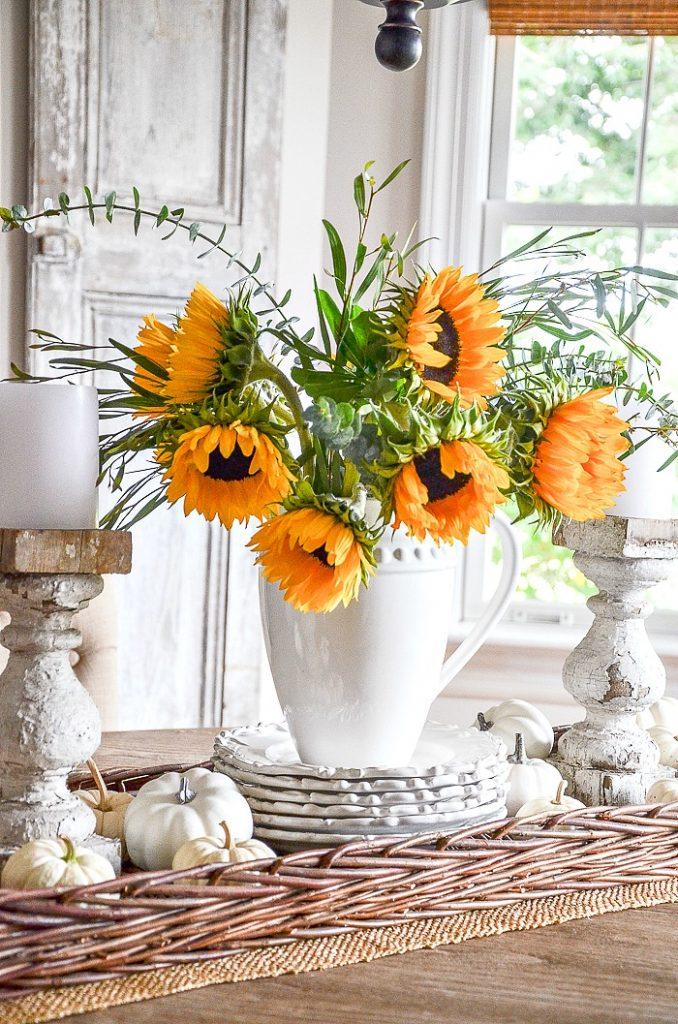 sunflower and white pumpkin vignette