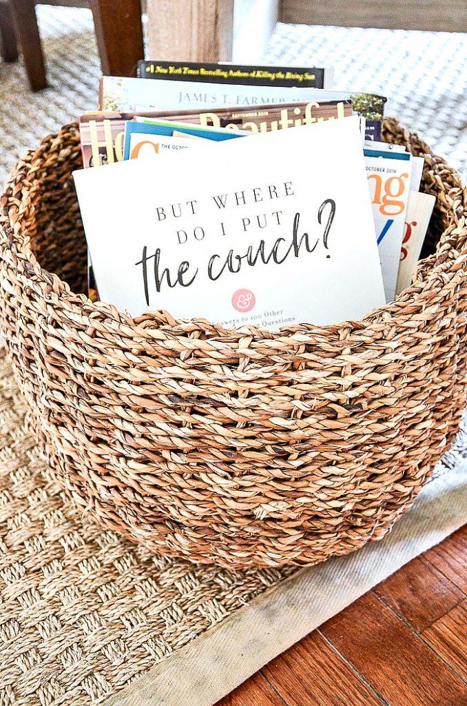 basket of decorating magazine and books