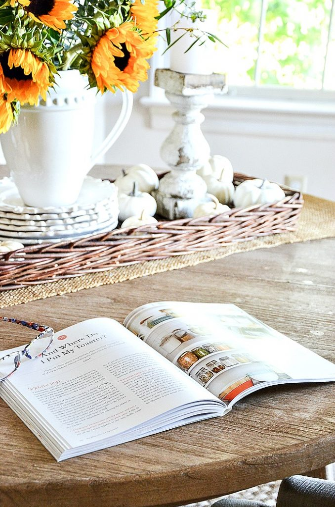 decorating book on a kitchen table