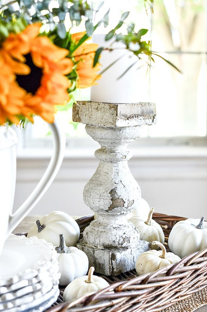 chippy corbel candlestick in a fall vignette