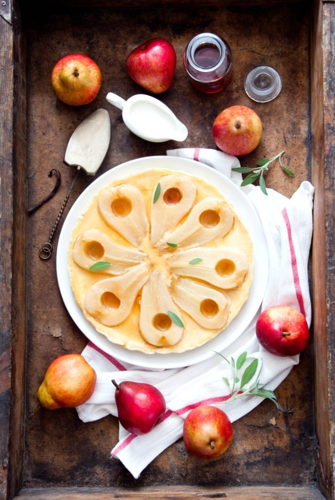 pear tart with beautiful sliced pears on the top