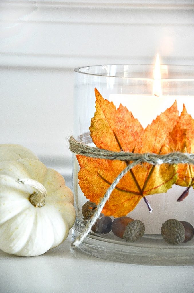 LEAF CANDLEHOLDER AND A MINI WHITE PUMPKIN