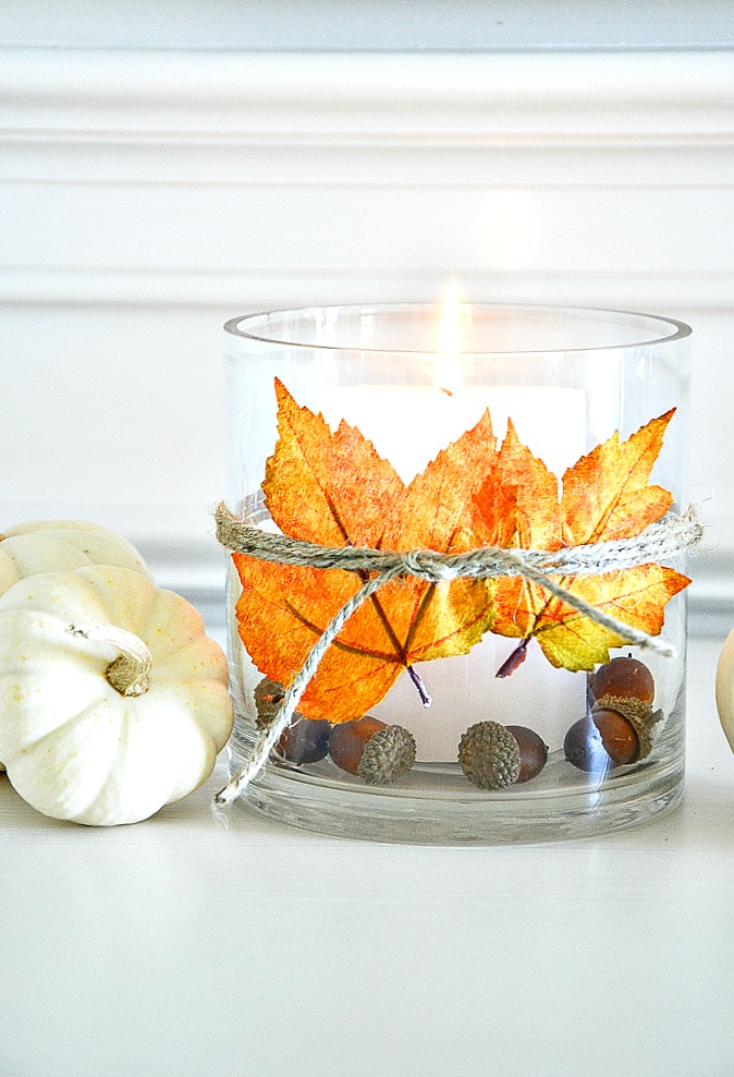 A LEAF CANDLEHOLDER, MINI PUMPKINS AND ACORNS