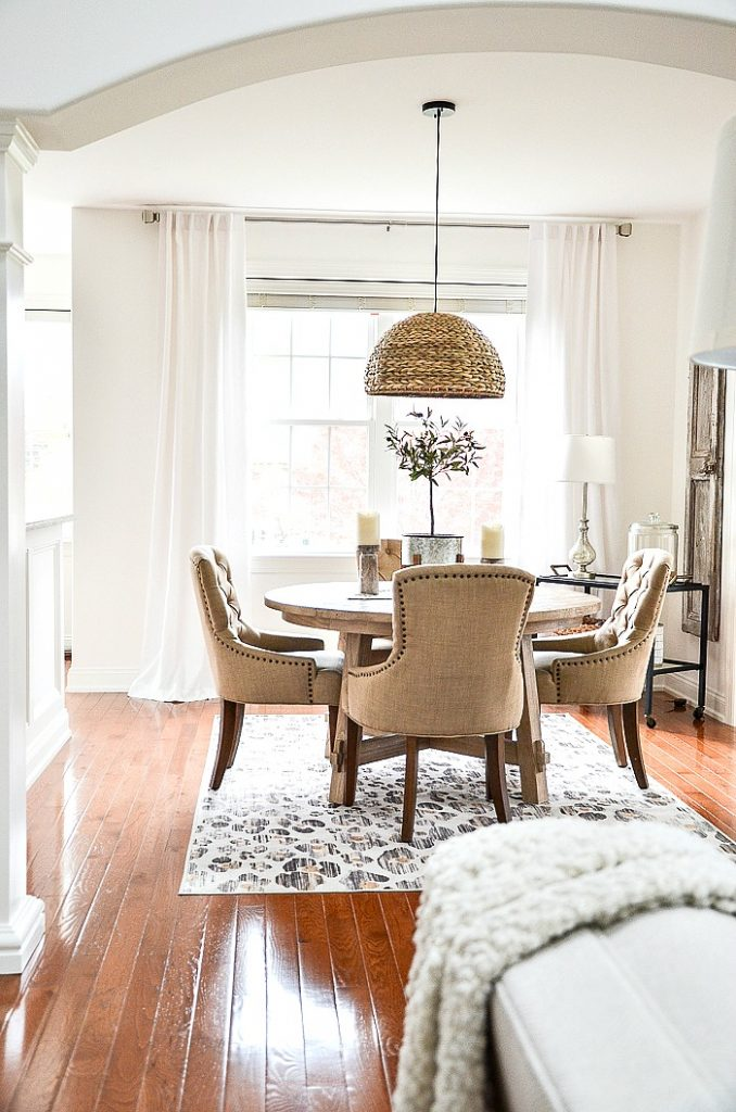 white curtains in dining area
