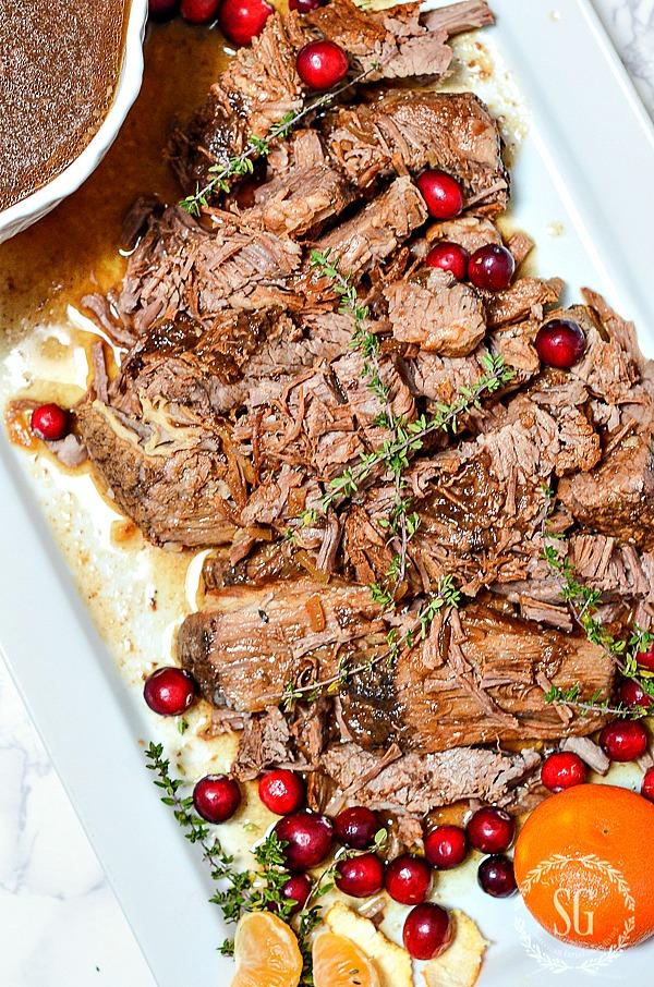 large platter of holiday beef brisket