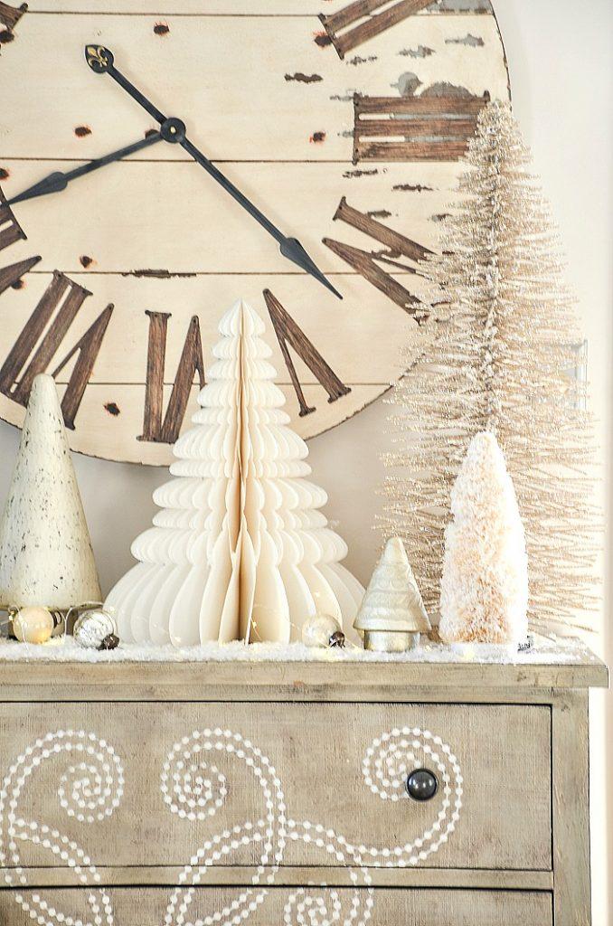 white decorative Christmas trees