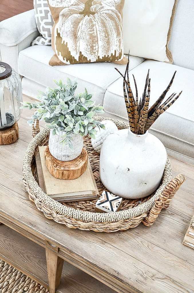 large white jug filled with pheasant feathers in a vignette