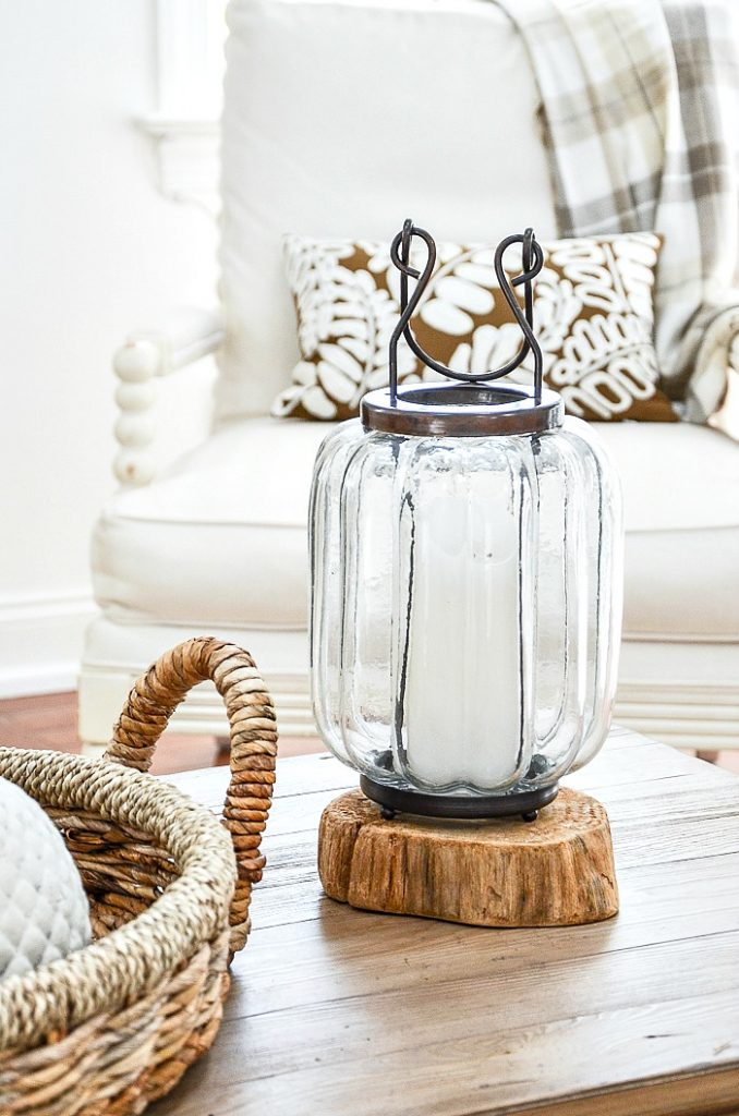 lantern with a white candle in it