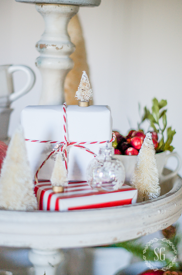 white package tied with red and white twine