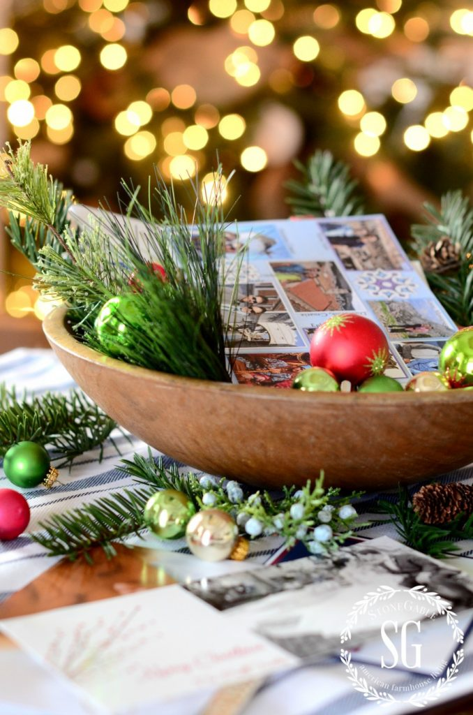 Christmas cards in a bowl