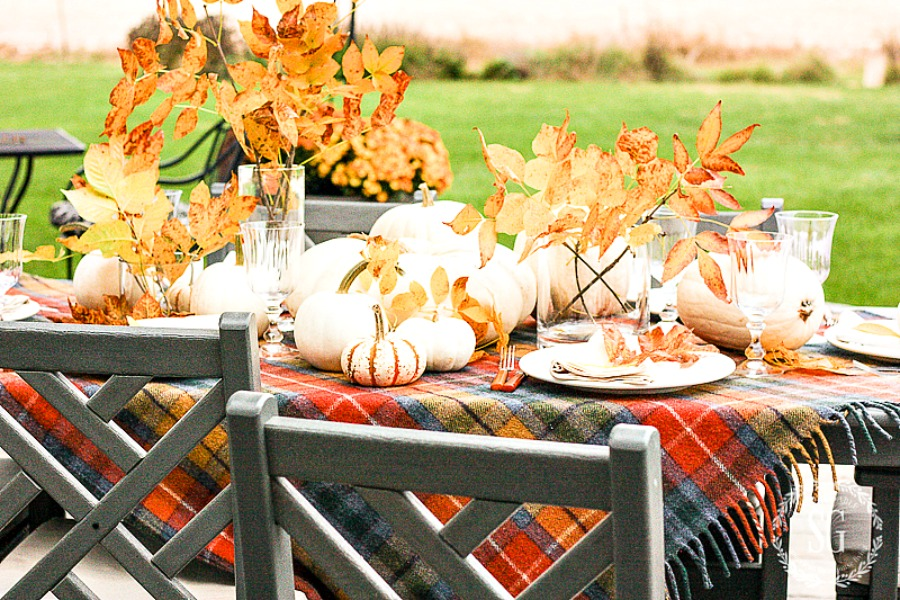 outdoor thanksgiving table with golden ash leaves in glass cylinders