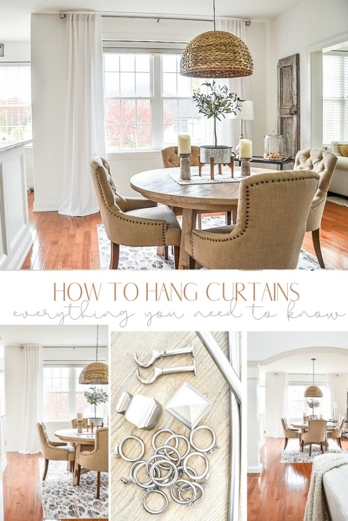 collage of a dining room and white linen curtain