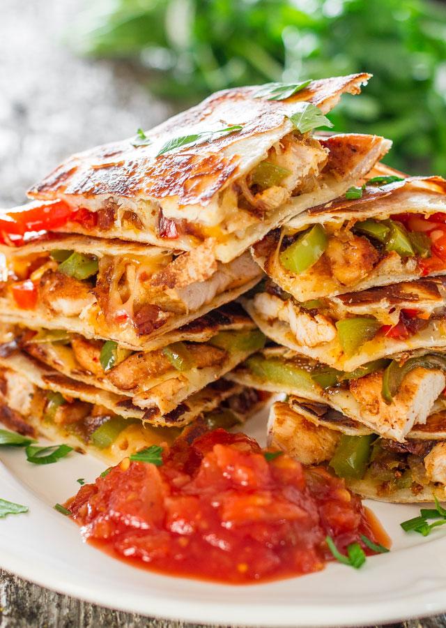 stack of chicken quesadillas