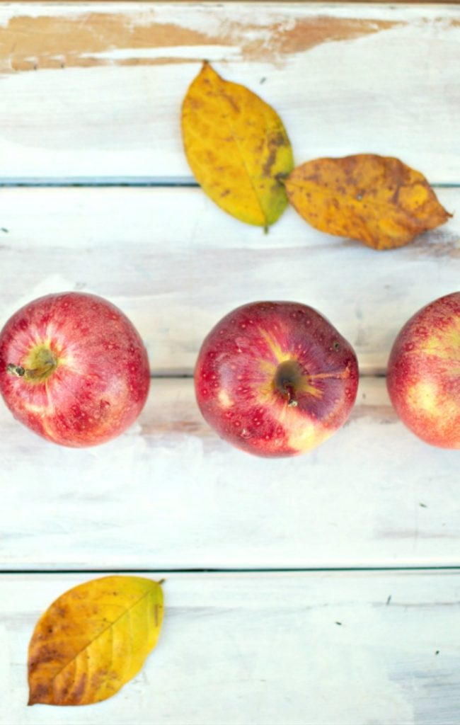 row of apples on the menu