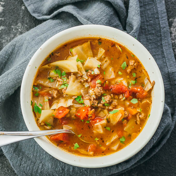 bowl of cabbage beef soup