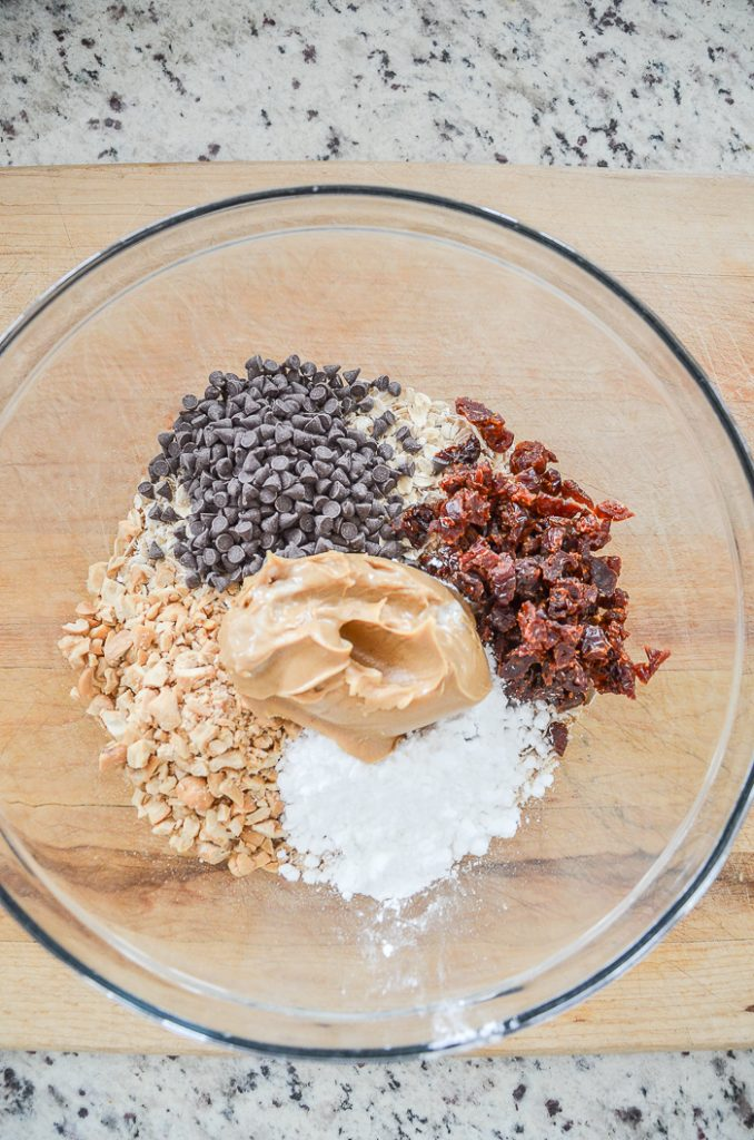 no bake cookie recipe ingredients in a bowl