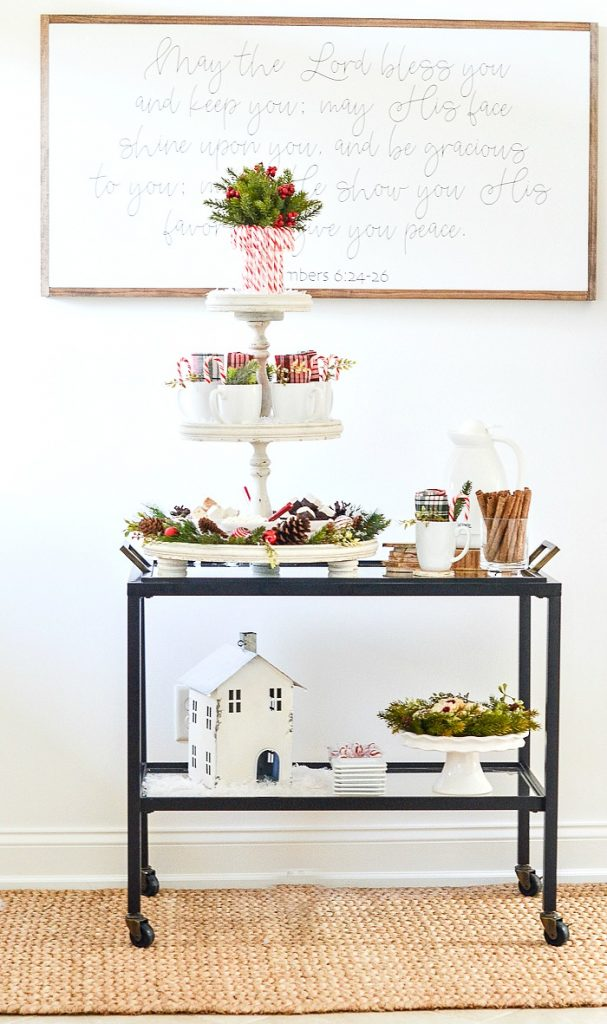 red and white Christmas hot chocolate bar