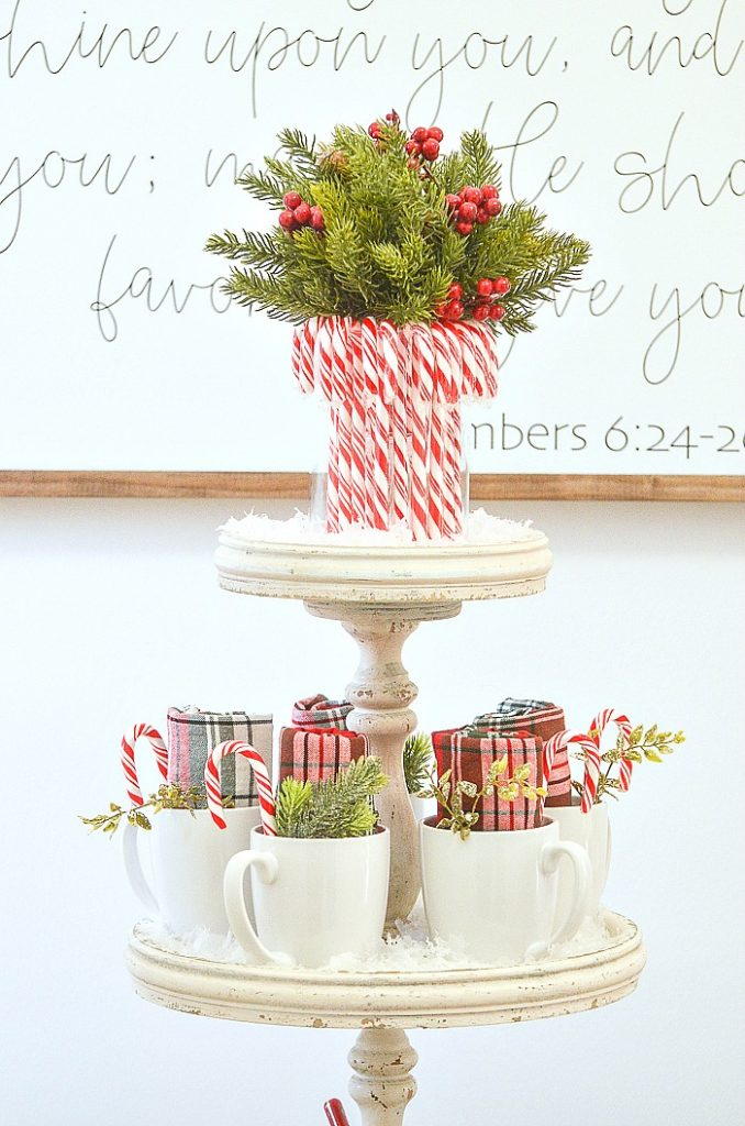candy cane arrangement on a hot chocolate bar