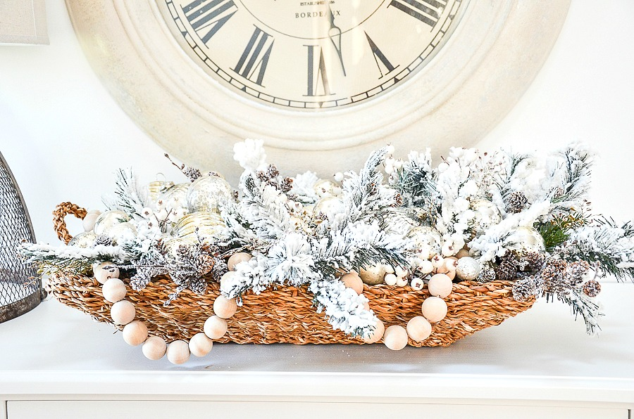 Christmas arrangement in a basket
