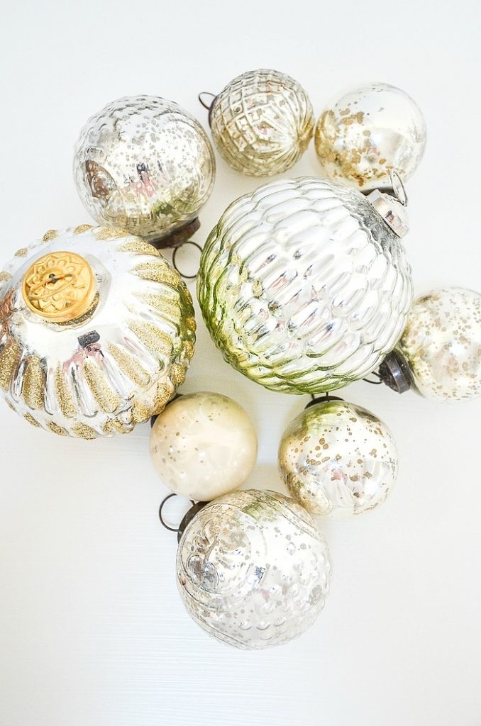 collection of mercury glass Christmas balls