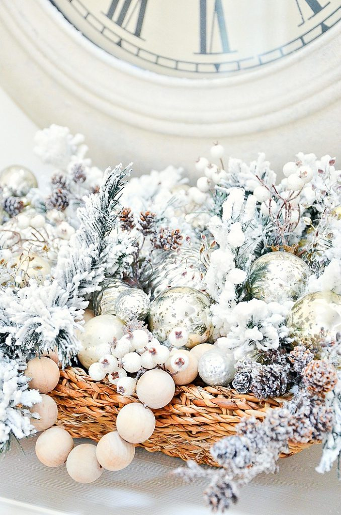 big Christmas arrangement in a basket