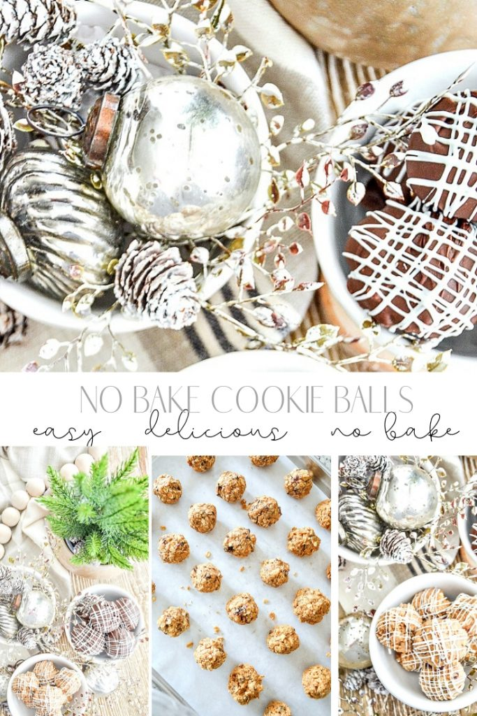 no bake cookie balls and Christmas ornaments